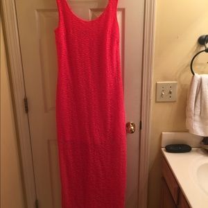Hot pink or coral maxi dress